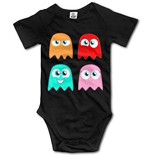 Baby's The Pac-Man Ghosts Hanging Bodysuit Romper Playsuit Outfits Clothes Climbing Clothes Short Sleeve Black]()