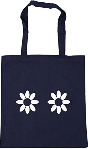 HippoWarehouse Daisy pattern Tote Shopping Gym Beach Bag 42cm x38cm, 10 litres French Navy
