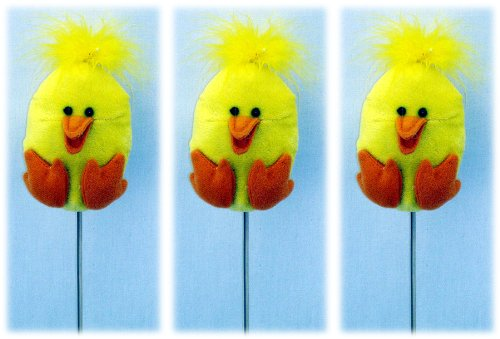 Plush Yellow Baby Chick Plant Picks - Set of 3