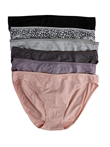 Jezebel by Felina   So Smooth Low Rise Bikini   Panty   6-Pack   Stretch (Grey Basics, X-Large)