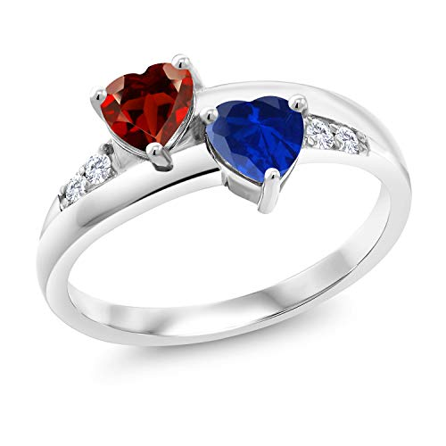 Gem Stone King 925 Sterling Silver Red Garnet and Blue Created Sapphire and Lab Grown Diamond Women Ring (1.24 Ct Heart Shape, Available in size 5, 6, 7, 8, 9)
