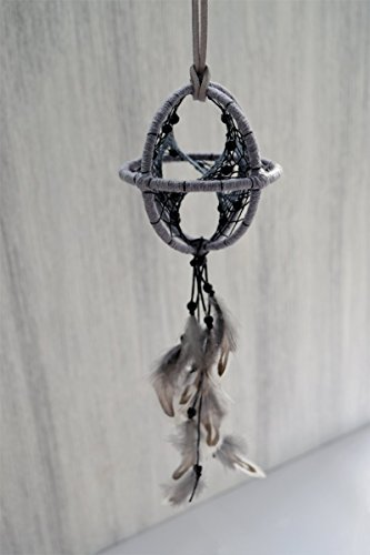 3'' Gray Black Feather Rear View Mirror Car 3D Dream Catcher Handmade by Riot of Colors