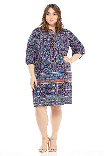 (London Times Women's Plus Size 3/4 Sleeve Keyhole Neck TIE Shift Dress, Blue/Orange, 1X)