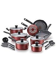 T-fal, Dishwasher Safe Cookware Set, 18 Piece, Red Initiatives Nonstick Inside