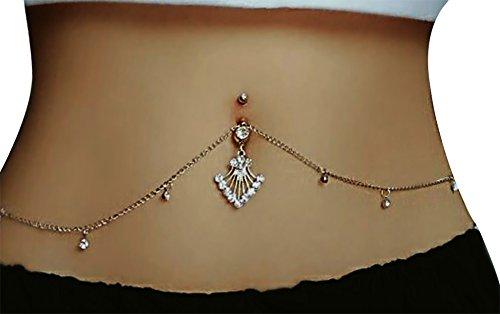 Belly Button Chains - Women Sexy Rhinestone Piercing Bar Body Jewelry Boho Waist Chain Belt Belly Button Ring (Silver) (Silver)