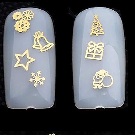 120pcs de decoración de uñas Arte Navidad Serie Parche Dorado Ruedas Ordenador Pastillas Pegatinas Decorativas(Oro): Amazon.es: Hogar