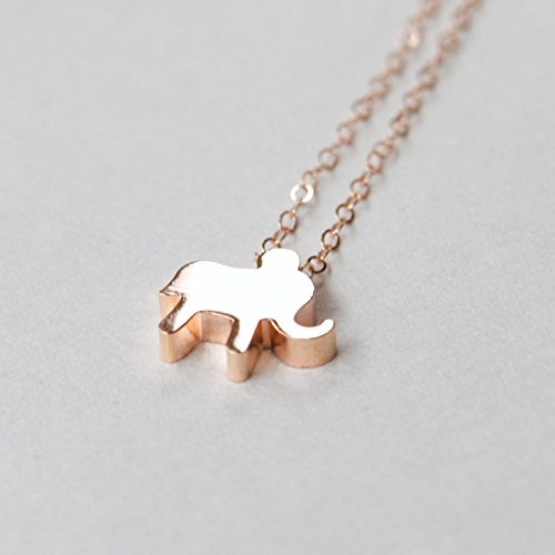 14k Gold Plated Elephant Necklace on Dainty Gold Filled Chain - Lucky Elephant Pendant - Rose Gold - Gold or Silver Handmade ()
