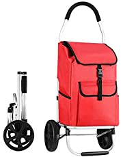 Foldable Aluminium Shopping Cart Trolley Bag Dolly w/Wheels Red