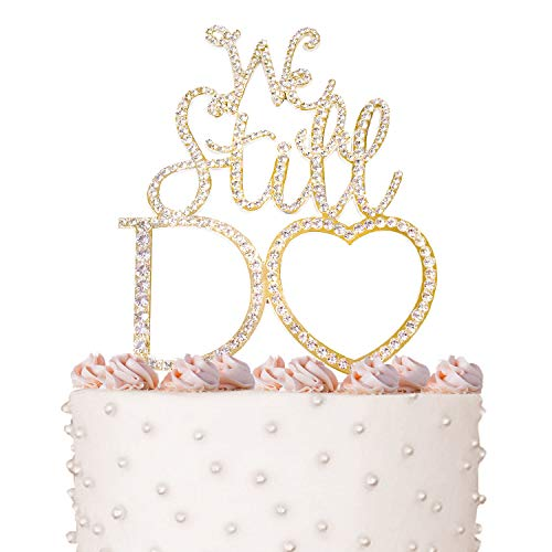 Price comparison product image WE STILL DO Rhinestone Cake Topper,  Gold Metal,  for Anniversary and Vow Renewal