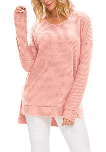 levaca Women Fall Long Sleeve Pullover Sweatshirt Tunic Tops for Leggings Pink...