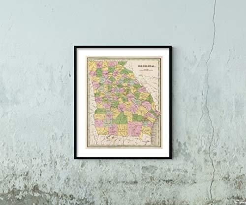 1841 Map World Atlas Georgia Historic Antique Vintage Reprint Size: 20x24 Ready to ()