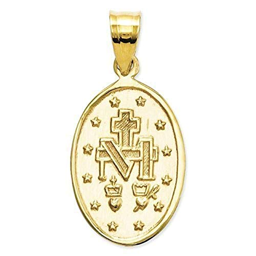 14K Yellow Gold Oval Miraculous Medal - 1/4 Wide Inch X 1/2 Tall Inch in 14K Yellow Gold