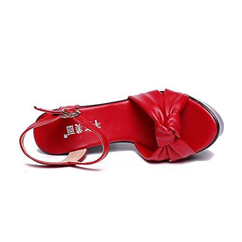 Sera EU39 Party nero US8 microfibra punta UK6 la fibbia aperta donna Chunky rosso rosso Estate sandali CN39 Scarpe per sintetico tallone bianco ZHZNVX Slingback PU wBqaUZ