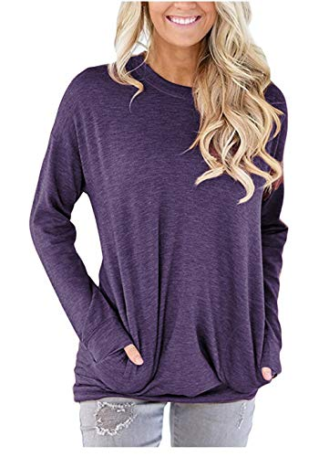 - onlypuff Women's Solid Long Sleeve Tunic Tops with Side Pockets Casual T Shirt Blouse Purple Small