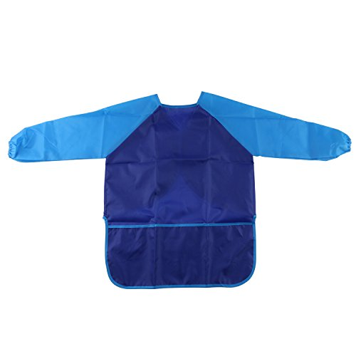 Kids/Children Painting Smocks Art Aprons Baby Feeding Eating Bib Waterproof Stain-Resistant Long Sleeve Full Protection Clothes with 3 Roomy Pockets, Painting Supplies Fit Ages 3-8 (Blue)