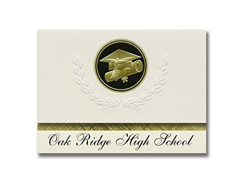 nts Oak Ridge High School (Conroe, TX) Graduation Announcements, Presidential style, Elite package of 25 Cap & Diploma Seal Black & Gold (Oak Ridge Panel)