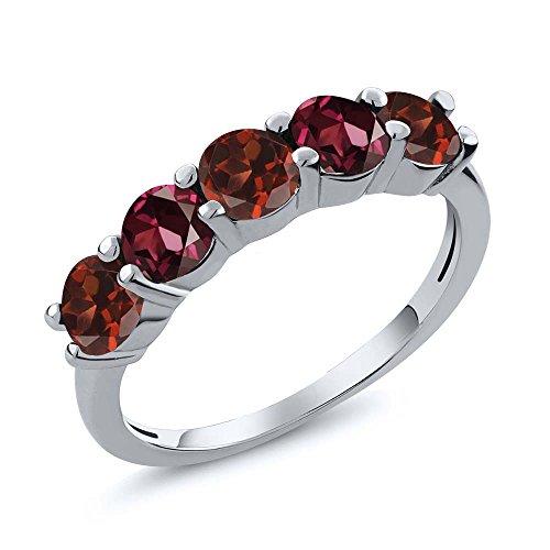 (Gem Stone King 1.04 Ct Round Red Garnet Rhodolite Garnet 925 Sterling Silver Wedding Band Ring (Size 6))