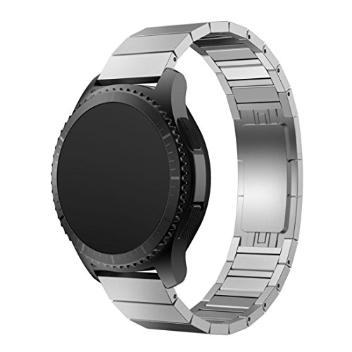 DEESEE(TM) Wristband Stainless Steel Watch Band Strap Metal Clasp For Samsung Gear S3 Frontier (Silver) ()