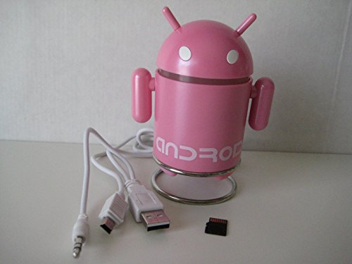 Android Robot Style USB Rechargeable FM/MP3 Player w/ Stereo Speaker, Micro SD & TF Card input, 3.5mm headphone; Color : Pink With 4GB TF Flash Memory Card by Android