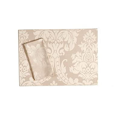 Trendex Home Designs Dunmore 4-Piece Rectangular Placemat Set, Cream
