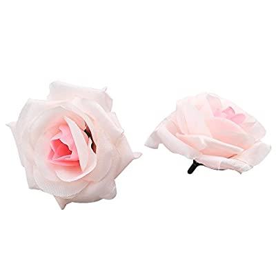 Topixdeals Silk Cream Pink Roses Flower Head, Artificial Flowers Heads for Wedding Flowers Accessories Make Bridal Hair Clips Headbands Dress