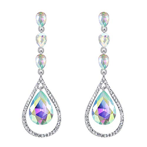 EVER FAITH Crystal Bridal Hollow-out Teardrop Pierced Dangle Earrings Iridescent Clear AB Silver-Tone