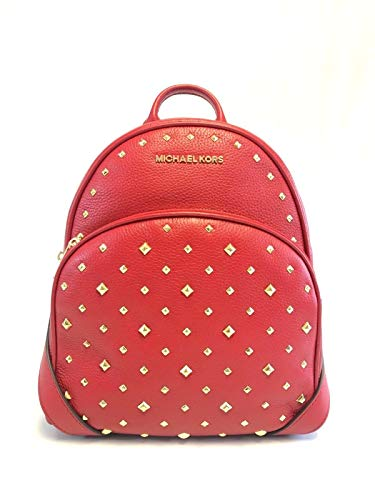 Michael Kors Abbey Medium Studded Leather Backpack For Work School Office Travel (Scarlet) (Scarlet Backpack)
