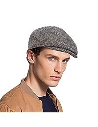 Original One Men's Irish Gatsby Flat Cap Ivy Driver Newsboy Hat - 100% Wool 8 Panel Tweed Herringbone