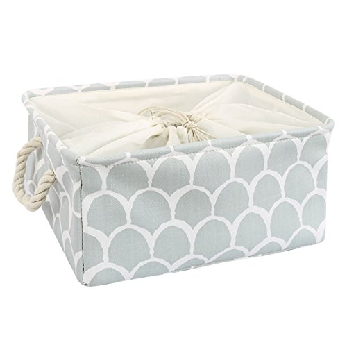 t Bin with Cotton Handles, Fabric Storage Bins with Drawstring Closure for Clothes Towel Toys Home Organizer,Gray Petal (Medium - 14.2 x 10.2 x 6.7 '') ()