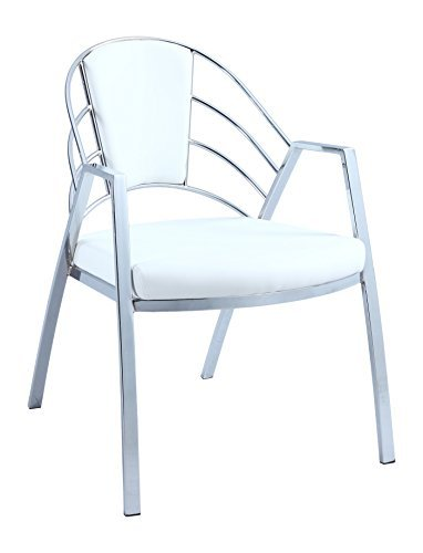 Chintaly Imports Destiny Upholstered Back Arm Chair, White By Chintaly  Imports