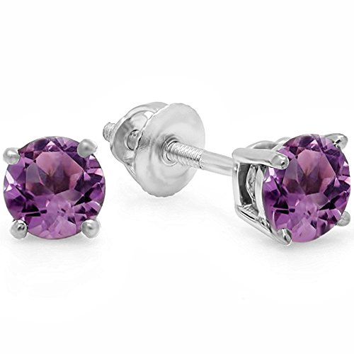 14K White Gold 5.5mm each Round Cut Amethyst Ladies