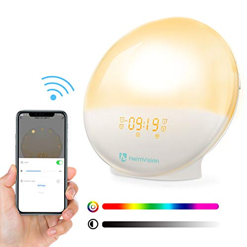 heimvision Sunrise Alarm Clock, Wake up Light Sleep Aid Digital Alarm Clock with Sunset Simulation & FM Radio, 4 Alarms /7 Alarm Sounds/Snooze/20 Brightness