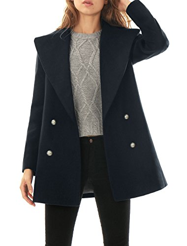 Allegra K Women Notched Lapel Double Breasted Worsted Long Coat Blue L