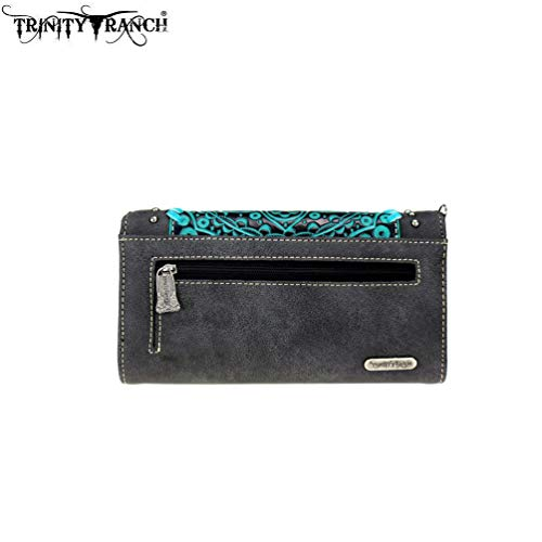 Tooled Floral Tooled Coffee Crossbody Wallet Trinity Ranch Collection RxXgnYn