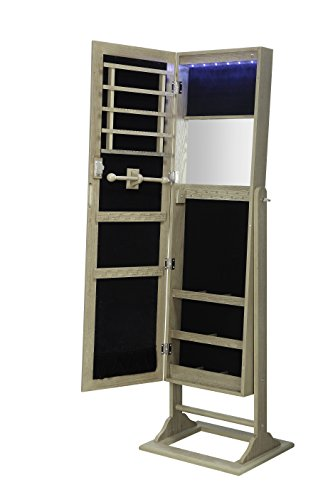 Abington Lane Standing Jewelry Armoire - Lockable Cabinet Organizer with Full Length Mirror and LED Lights (Antique Oak)