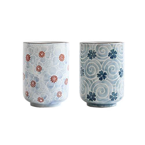 MengCat Tazas de te japonesas Taza Taza de ceramica Flor Tradicional Japonesa Bonito diseno Conjunto de 2 yunomi Tazas de te 10 OZ