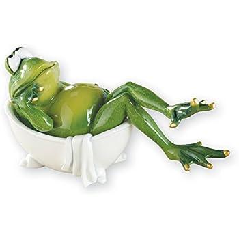 Lounging Bathroom Frog Hand-Painted Novelty Figurine Decor, Bathtub