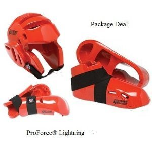 Lightning Red Karate Sparring Gear Package Deal - Child Large by Lightning