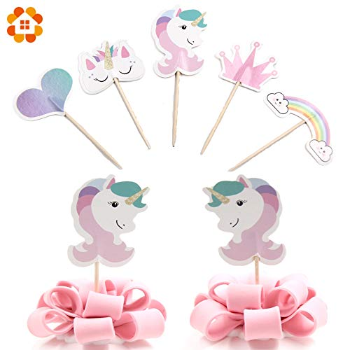 Fresian Horse Blackmores Rainbow 24PCS Cute Unicorn Horse Candy Bar Cupcake Toppers Rainbow Cakes Topper Picks Baby Shower Supplies Kids Birthday Party Supplies -