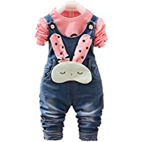 Chumhey Baby & Little Girls Blue Knitted Denim Overalls Pant Sets Bunny Decor