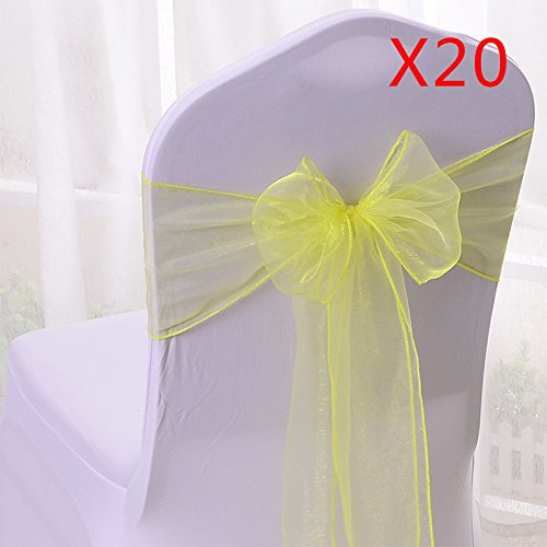 10/20/50/100pcs Organza Chair Sashes Bows Ribbons Covers for Wedding Supplies Events Party Reception Banquet Decoration Elegant 10 Colors(20PCS, Yellow)