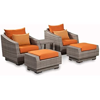 RST Outdoor RST Brands OP PECLB5 CNS TKA K Cannes 5 Piece Club Chair And  Ottoman Set