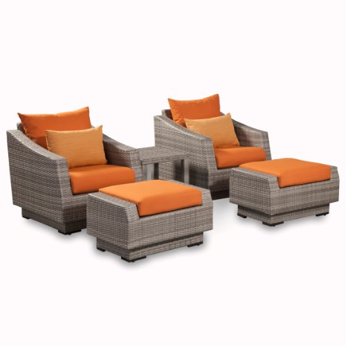 RST Brands OP-PECLB5-CNS-TKA-K Cannes 5 Piece Club Chair and Ottoman Set