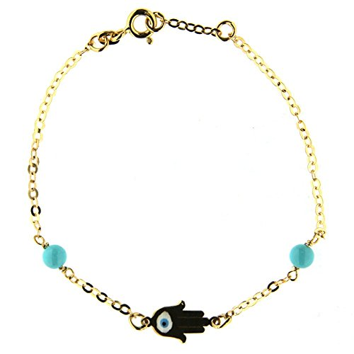 18K Yellow Gold enamel Hamsa and turquoise paste beads bracelet 6 inches with extra ring at 5.5 inch by Amalia