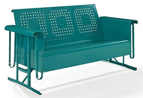 (Crosley Furniture Bates Patio Gliding Sofa in Turquoise)