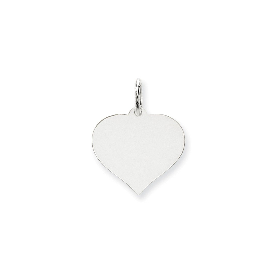 14k White Gold Heart Disc Pendant Charm Necklace Engravable Curved Shaped Fine Jewelry Gifts For Women For Her