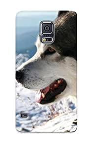 Galaxy S5 Hard Back With Bumper Silicone Gel Tpu Case Cover For Lover's Gift Winter Snow Animals Dogs Sunlight Mammals Faces
