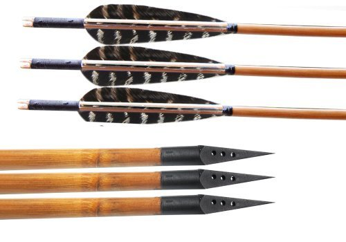 Huntingdoor 12 Pack Bamboo Shaft Archery Hunting Arrows Fletching With Pheasant Feathers With A-30A Broadheads 150 Grain