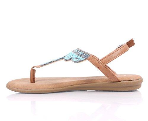 Bambu Kvinna Rem T-rem Platta Sandaler Slip-on Slingback Spänne Stängning Jewells Pärlstav Broderi Skor Blå