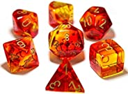 Chessex Gemini Translucent Polyhedral Dice Set Red and Yellow with Gold